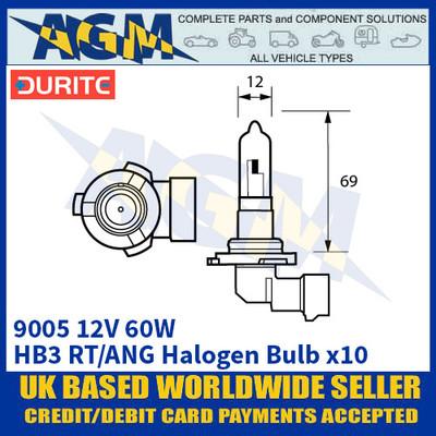 Durite 8-090-05 9005 12 Volt 60 Watt HB3 RT/ANG Halogen Bulb - x10 Pack