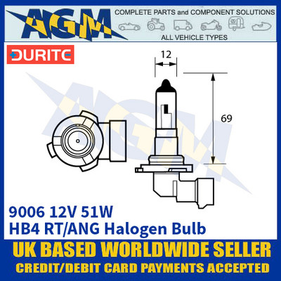 Durite 7-090-06 9006 12 Volt 51 Watt HB4 RT/ANG Halogen Bulb