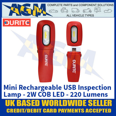Durite 0-699-74 Mini Rechargeable USB Inspection Lamp - 2W COB LED - 220 Lumens