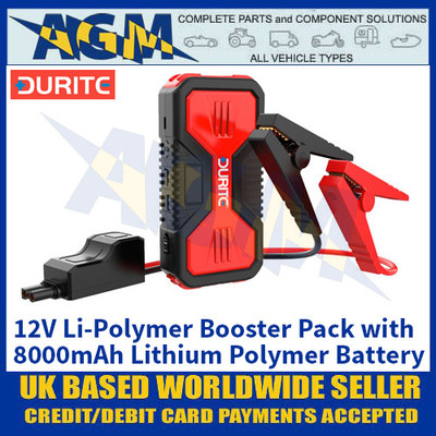 Durite 0-649-22 12V Li-Polymer Booster Pack with 8000mAh Lithium Polymer Battery