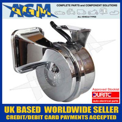 Durite 0-642-15 Marine Style 12v 410Hz Chrome Trumpet Horn LOW Tone