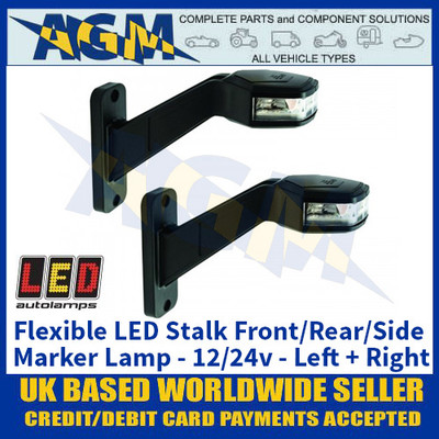 LED Autolamps 'LEFT + RIGHT-HAND-SIDE' Flexible Stalk Front/Rear/Side Marker Lamp - 12/24V