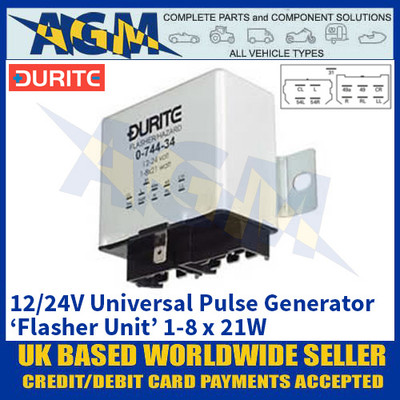 Durite 0-744-34 Universal Flasher Unit - Universal Pulse Generator - 12/24V 1-8 x 21W
