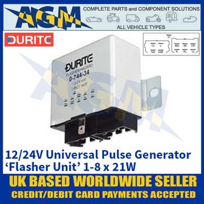 Durite 0-744-34 Universal Flasher Unit - Universal Pulse Generator - 12/24V 1-8 x 21W