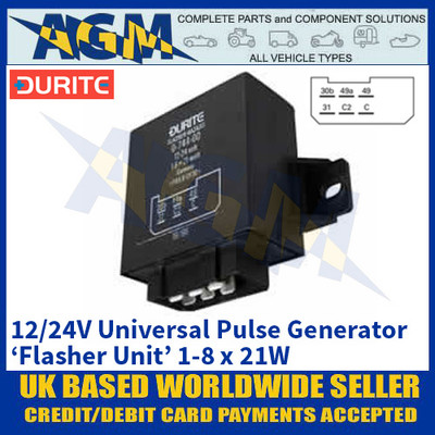 Durite 0-744-00 Universal Flasher Unit - Universal Pulse Generator - 12/24V 1-8 x 21W
