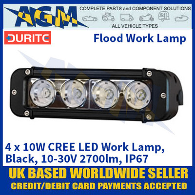 Durite 0-420-93 4 x 10W CREE LED Work Lamp, Black, 10-30V 2700lm, IP67