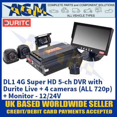 Durite 0-876-39 DL1 4G Super HD 5-ch DVR with Durite Live + 4 cameras (ALL 720p) + Monitor - 12/24V