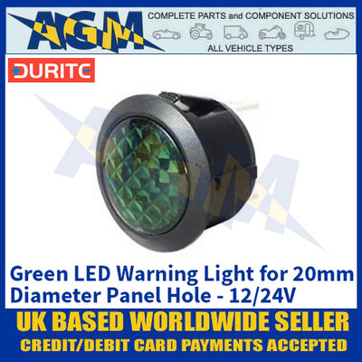 Durite 0-607-34 Green LED Warning Light for 20mm Diameter Panel Hole - 12/24V
