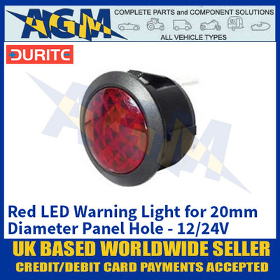 Durite 0-607-35 Red LED Warning Light for 20mm Diameter Panel Hole - 12/24V