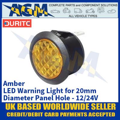 Durite 0-607-40 Amber LED Warning Light for 20mm Diameter Panel Hole - 12/24V