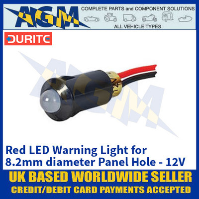 Durite 0-607-05 Red LED Warning Light for 8.2mm diameter Panel Hole - 12V
