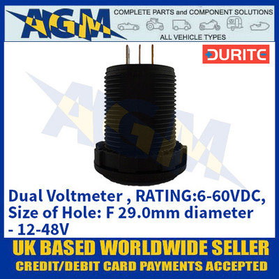 Durite 0-534-05 Dual Voltmeter, RATING:6-60VDC, Size of Hole: F 29.0mm diameter - 12-48V