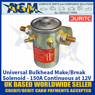 Durite 0-335-06 Bulkhead Make/Break Solenoid - 150A Continuous at 12V