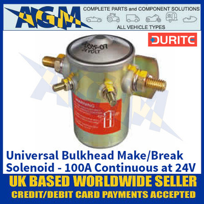 Durite 0-335-07 Bulkhead Make/Break Solenoid - 100A Continuous at 24V