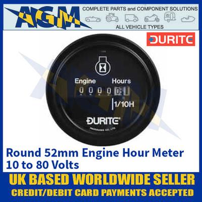 Durite 0-523-08 Round 52mm Engine Hour Meter 10 - 80V