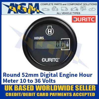 Durite 0-523-68 Round 52mm Digital Engine Hour Meter 10 - 36V