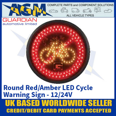 Guardian Automotive CL2 Round Red/Amber LED Cycle Warning Sign - 12/24V