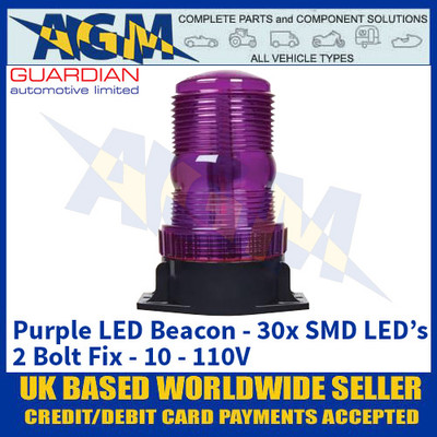 Guardian Automotive AMB911P Purple LED Beacon - 2 Bolt Fix - 10 to 110V