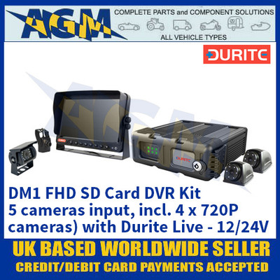 Durite 0-774-06 DM1 FHD SD Card DVR Kit (5 cameras input, incl. 4 x 720P cameras) with Durite Live - 12/24V