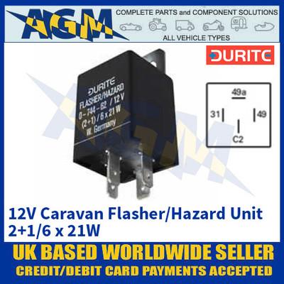 Durite 0-744-62 12V Caravan Flasher/Hazard Unit - 2+1/6 x 21W