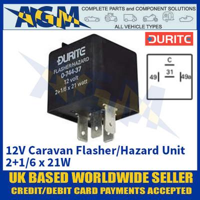 Durite 0-744-37 12V Caravan Flasher/Hazard Unit - 2+1/6 x 21W