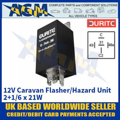 Durite 0-744-36 12V Caravan Flasher/Hazard Unit - 2+1/6 x 21W
