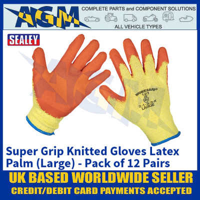 Sealey 9121L/12 Super Grip Knitted Gloves Latex Palm (Large) - Pack of 12 Pairs