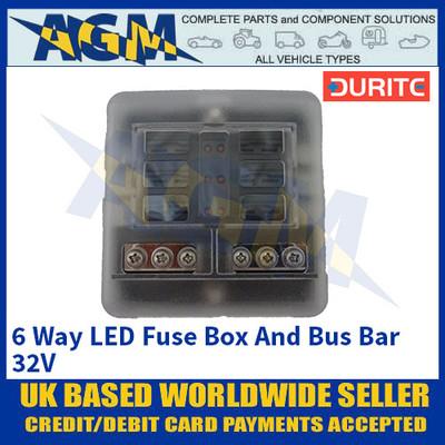 Durite 0-234-76 6 Way LED Fuse Box And Bus Bar - 32V