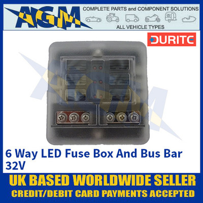 Durite 0-234-76 6 Way LED Fuse Box And Bus Bar - 32V