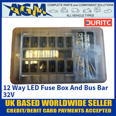 Durite 0-234-82 12 Way LED Fuse Box And Bus Bar - 32V