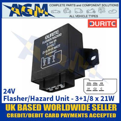 Durite 0-744-54 24V 3+1(8) x 21W Flasher/Hazard Unit