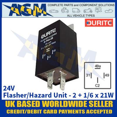 Durite 0-744-26 24V 2 + 1/6 x 21W Flasher/Hazard Unit
