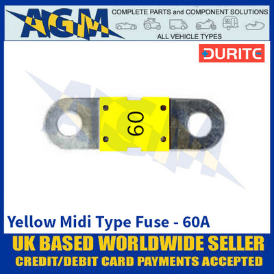 Durite 0-378-16 Yellow Midi Type Fuse - 60A