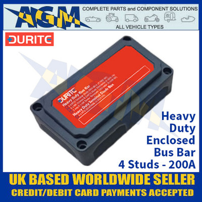 Durite 0-005-60 Heavy Duty Enclosed Bus Bar - 4 Studs - 200A