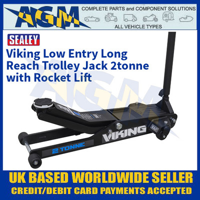 Sealey 2100TB Viking Low Entry Long Reach Trolley Jack 2tonne with Rocket Lift