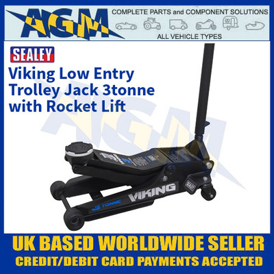 Sealey 3100TB Viking Low Entry Trolley Jack 3tonne with Rocket Lift
