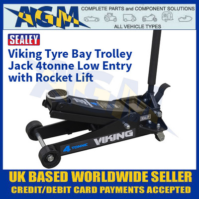 Sealey 4040TB Viking Tyre Bay Trolley Jack 4tonne Low Entry with Rocket Lift