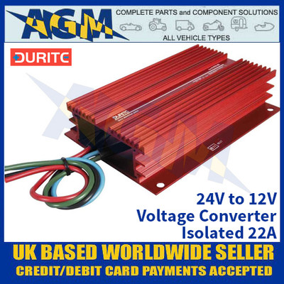 Durite 0-578-22 24V to 12V Voltage Converter - Isolated 22A