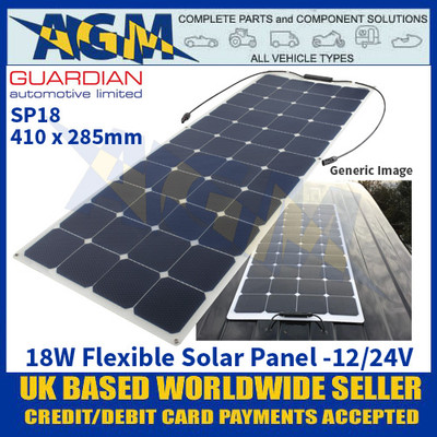 Guardian Automotive SP18 Flexible Solar Panel, 410 x 285mm, 12/24V