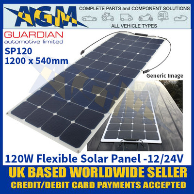 Guardian Automotive SP120 Flexible Solar Panel, 1200 x 540mm, 12/24V
