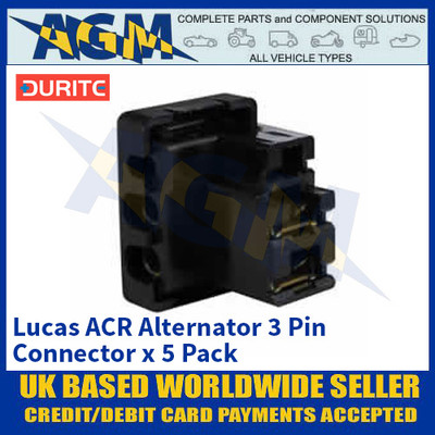 Durite 0-845-03 Lucas 54960402 ACR Alternator 3 Pin Connector - x5 Pack