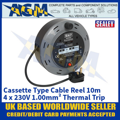 Sealey BCR10B Cassette Type Cable Reel 10m 4 x 230V 1.00mm² Thermal Trip