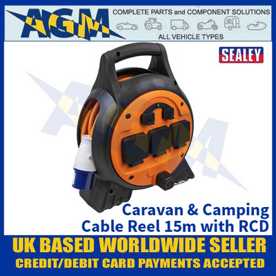 Sealey WSPC1633U Caravan & Camping Cable Reel 15m with RCD