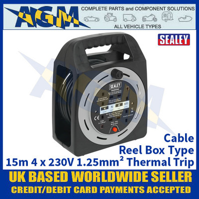Sealey BCR15CB Cable Reel Box Type 15m 4 x 230V 1.25mm² Thermal Trip