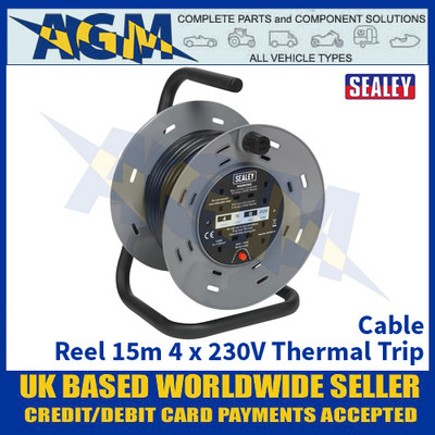 Sealey BCR153T Cable Power Reel 15m 4 x 230V Thermal Trip