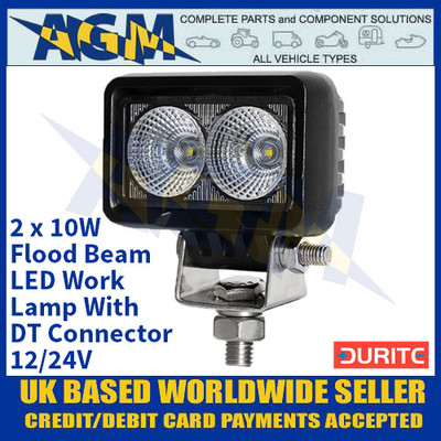 Durite 0-420-26 2 x 10W Flood Beam LED Work Lamp With DT Connector - 12/24V