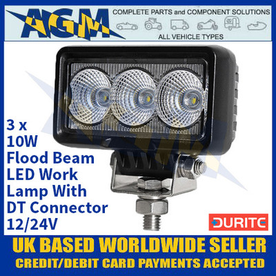 Durite 0-420-27 3 x 10W Flood Beam LED Work Lamp With DT Connector - 12/24V