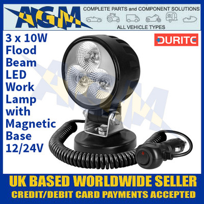 Durite 0-420-30 3 x 10W Flood Beam LED Work Lamp With Magnetic Base - 12/24V