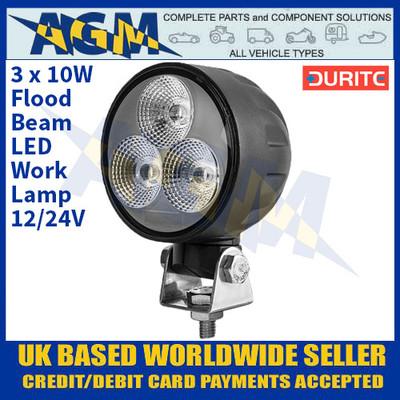 Durite 0-420-31 3 x 10W Flood Beam LED Work Lamp - 12/24V