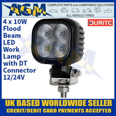 Durite 0-420-74 4 x 10W Flood Beam LED Work Lamp With DT Connector - 12/24V
